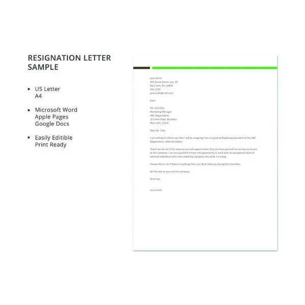 28+ Simple Resignation Letter Templates - PDF, DOC Free  Premium - example of resignation letters