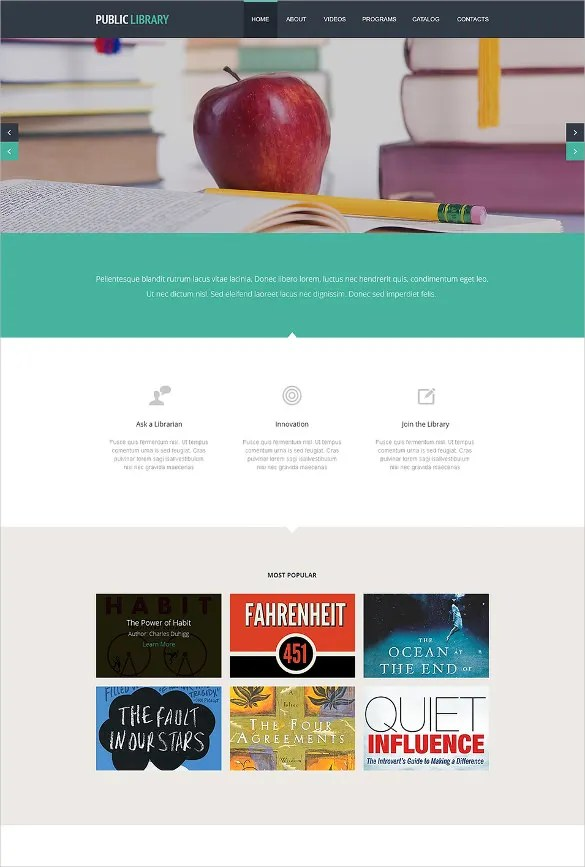 16+ Online Library Website Templates  ThemesFree  Premium Free