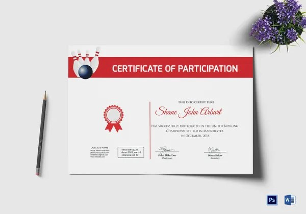 Design of certificate of participation - certificate of participation free template