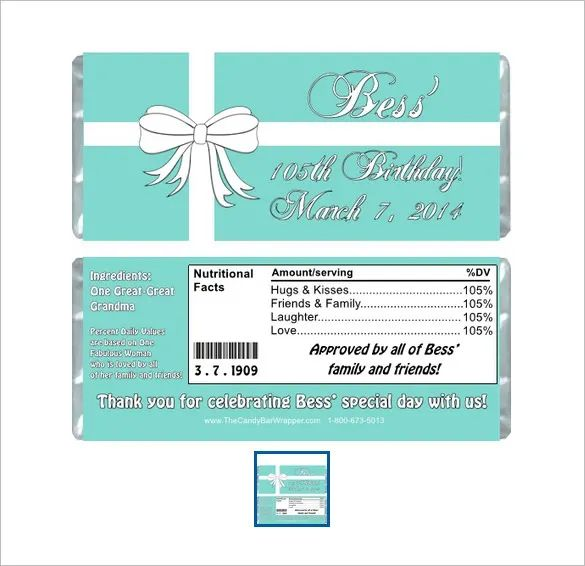 candy bar wrapper template word