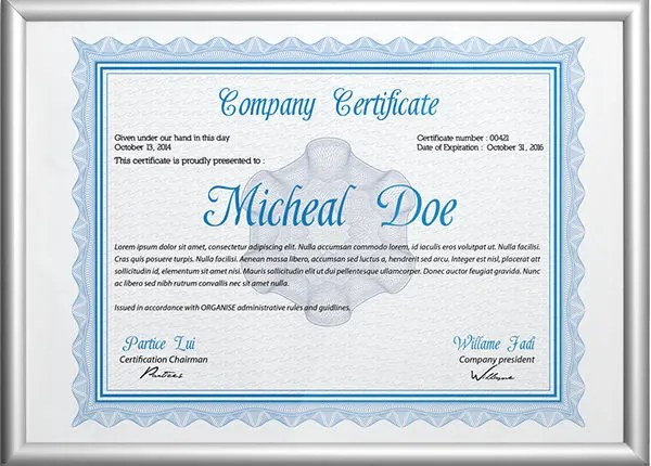58+ Printable Certificate Templates - Free PSD, AI, Vector, EPS - Free Professional Certificate Templates
