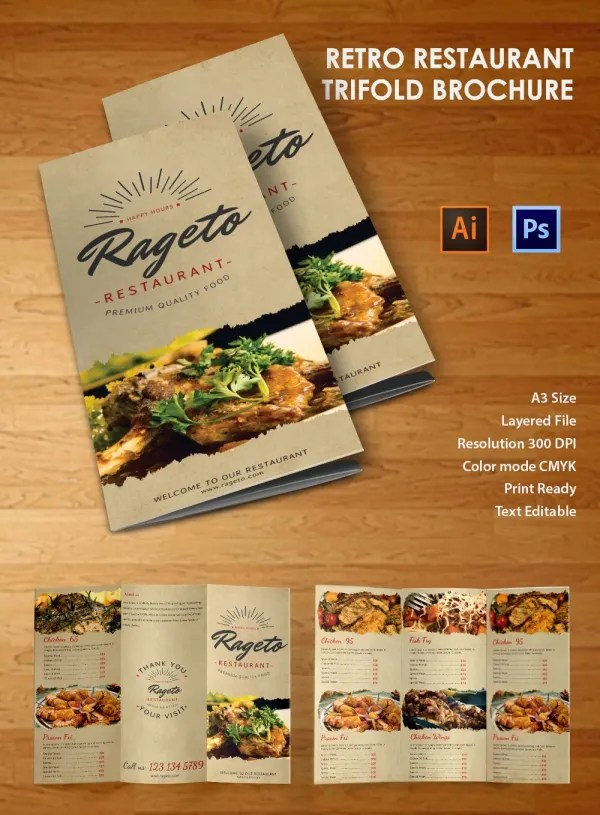 19 Retro Brochure Templates Free PSD EPS Illustrator - dinosauriensinfo