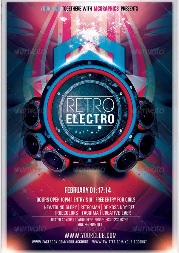 Retro Style Flyer Template - 41+ Free PSD Format Download Free - electro flyer