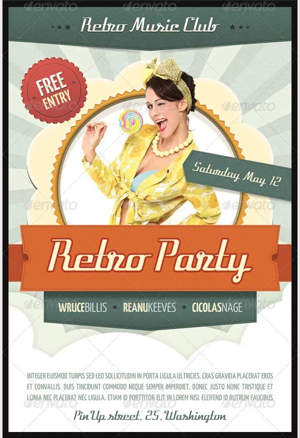 Retro Style Flyer Template - 41+ Free PSD Format Download Free - retro flyer template