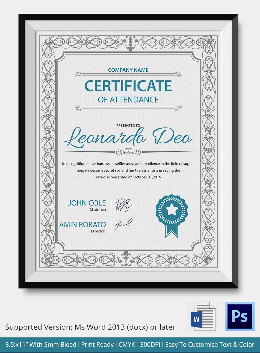 certification template word