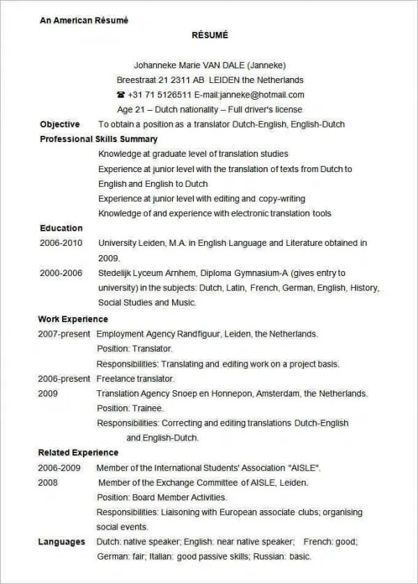 Resume Usa Template - A Good Resume Example \u2022