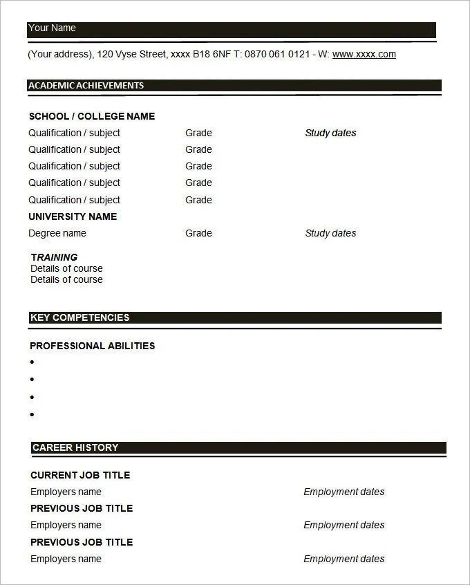 45+ Blank Resume Templates - Free Samples, Examples, Format Download - resumes blank