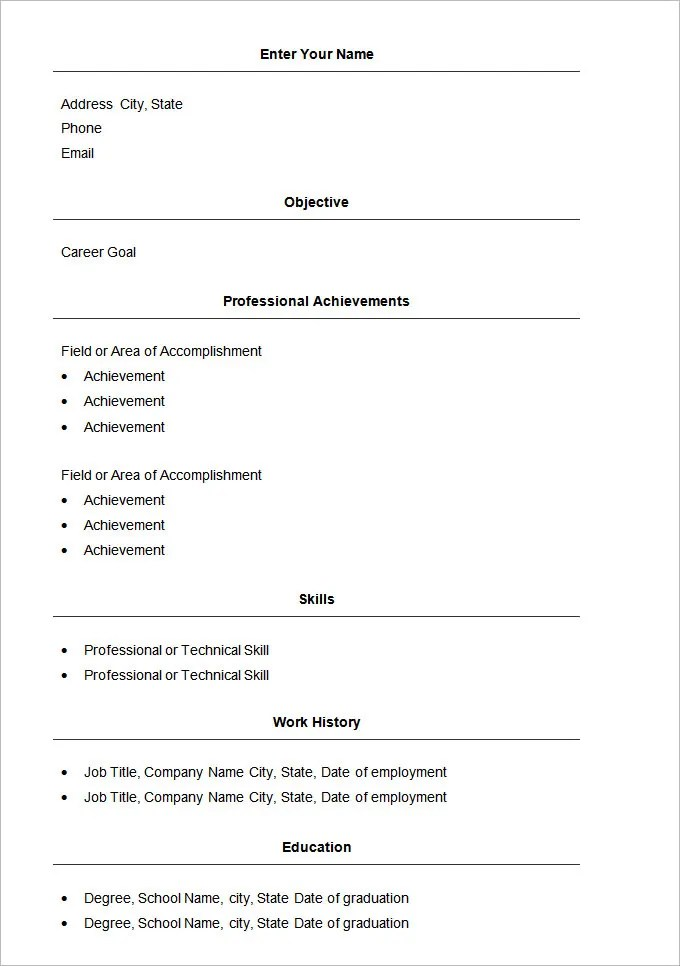 sample of basic resume - Boatjeremyeaton - sample resume basic