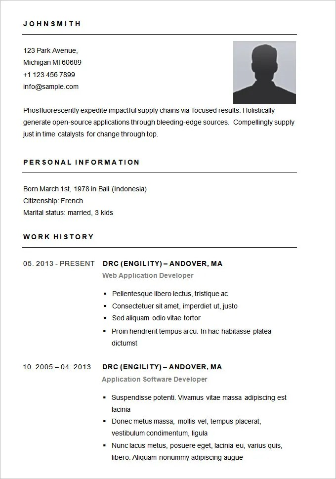 easy resume format download - Canasbergdorfbib