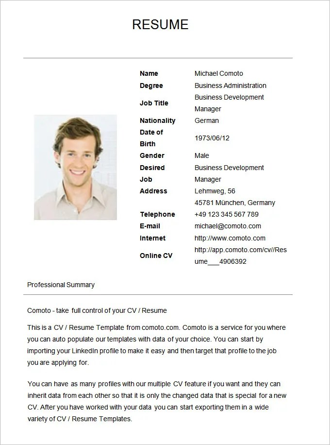 Basic Resume Template - 70+ Free Samples, Examples, Format Download - resume templates examples