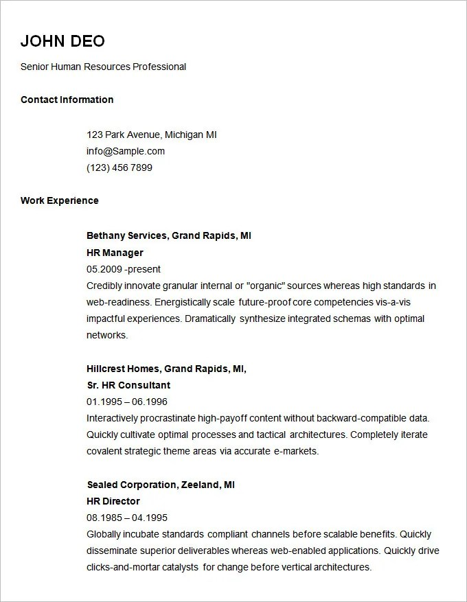 Basic Resume Template - 70+ Free Samples, Examples, Format Download - Sample Of Resume Templates