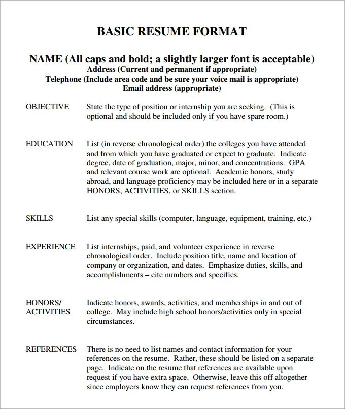 Basic Resume Template - 70+ Free Samples, Examples, Format Download - Sample Resume Templates Word