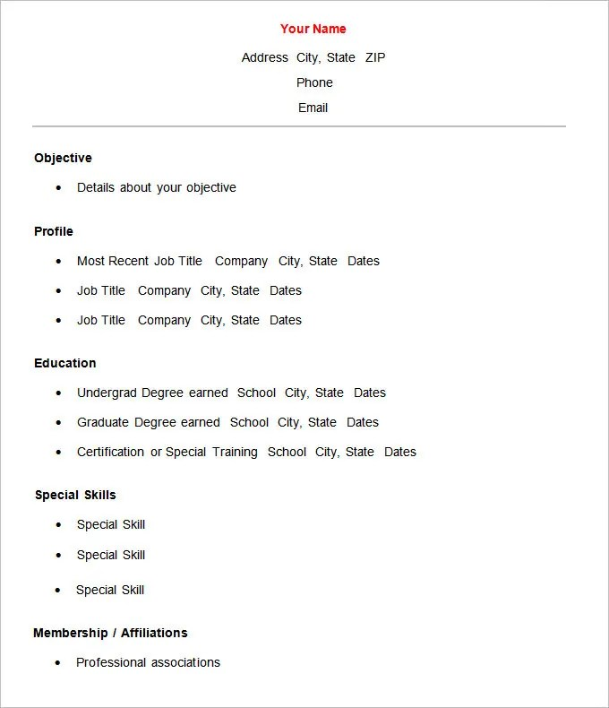 Basic Resume Template u2013 51+ Free Samples, Examples, Format - resume template word