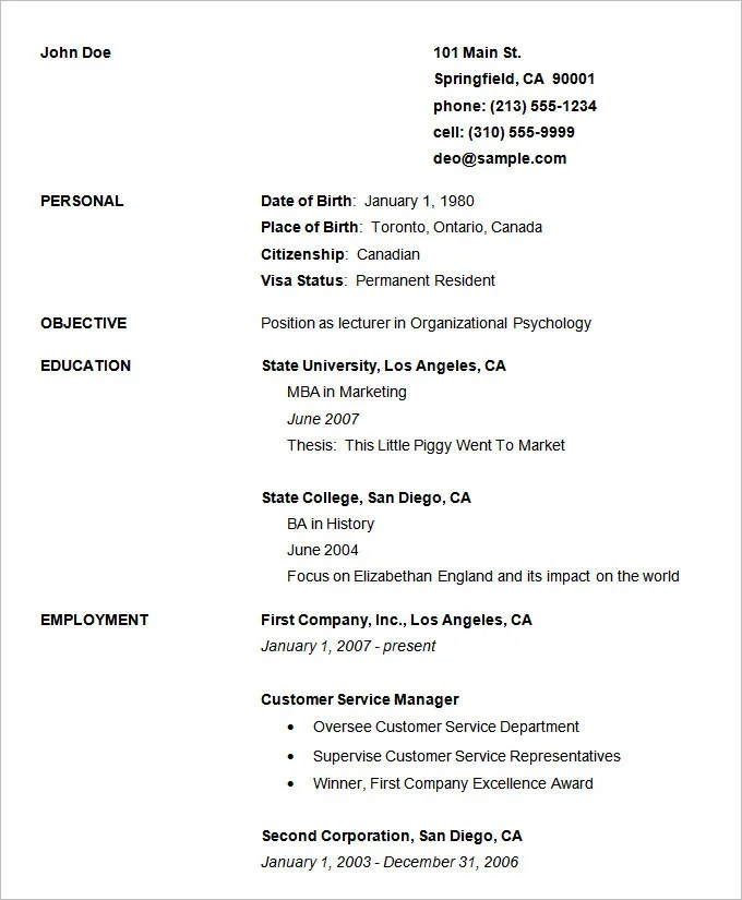 Basic Resume Template Free Academic Resume Writing Template For - sample resume format for freshers