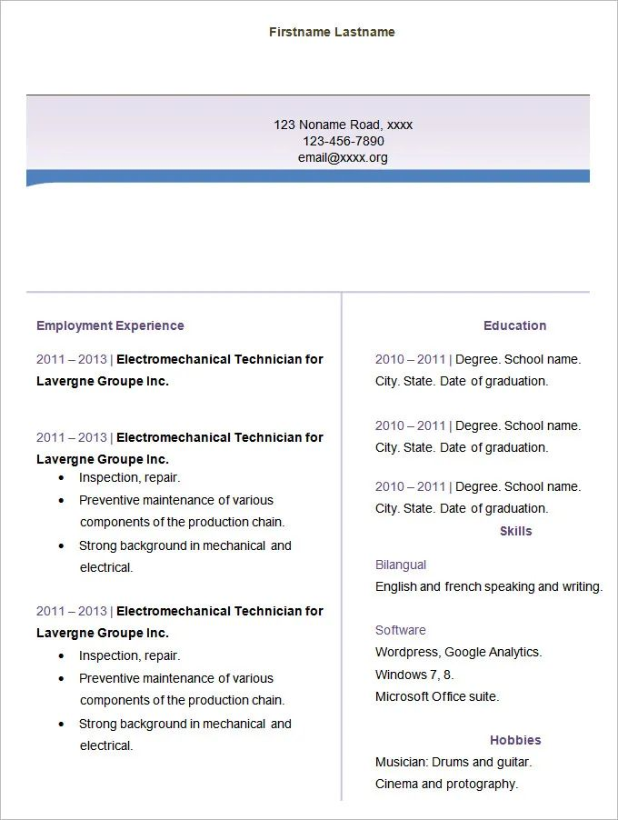 free resume templates for word 2014