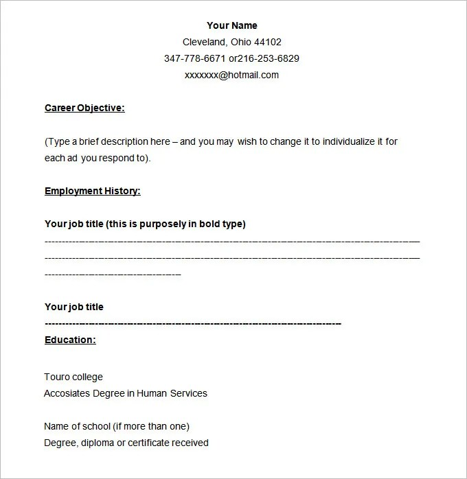 46+ Blank Resume Templates - DOC, PDF Free  Premium Templates - fill in resume templates