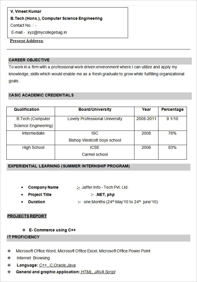 computer engineer resume resume for freshers engineering for