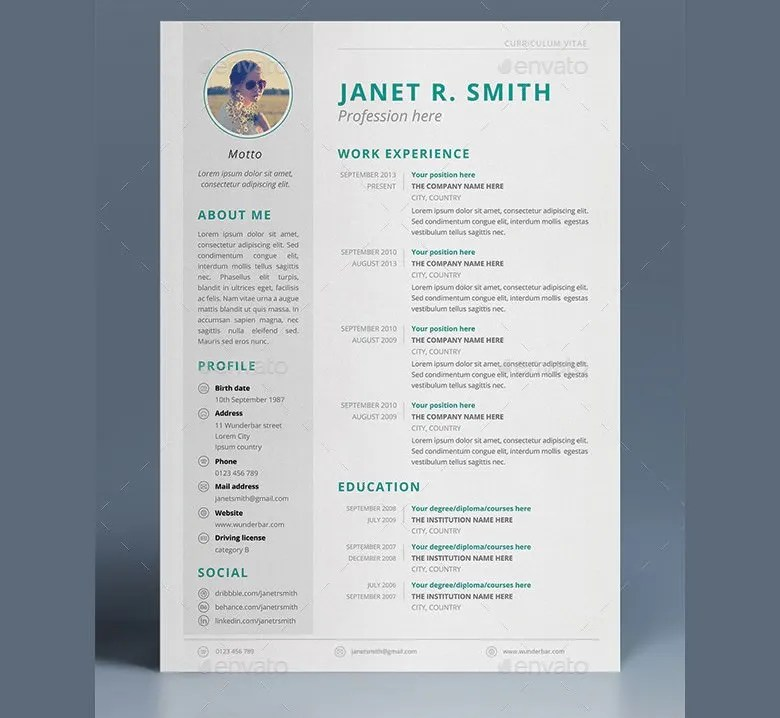 CV Templates - 70+ Free Samples, Examples, Format Download Free - professional cv template