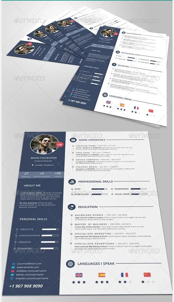 PSD Resume Template u2013 51+ Free Samples, Examples, Format Download - cool free resume templates