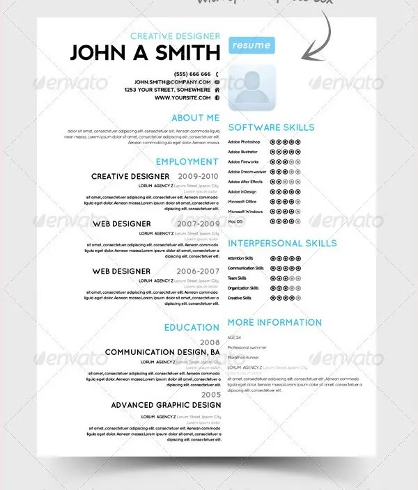 PSD Resume Template u2013 51+ Free Samples, Examples, Format Download - example of one page resume