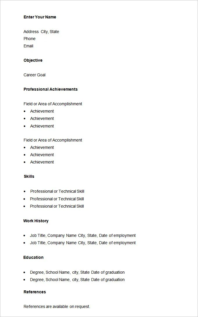 Basic Resume Template u2013 51+ Free Samples, Examples, Format - basic skills resume