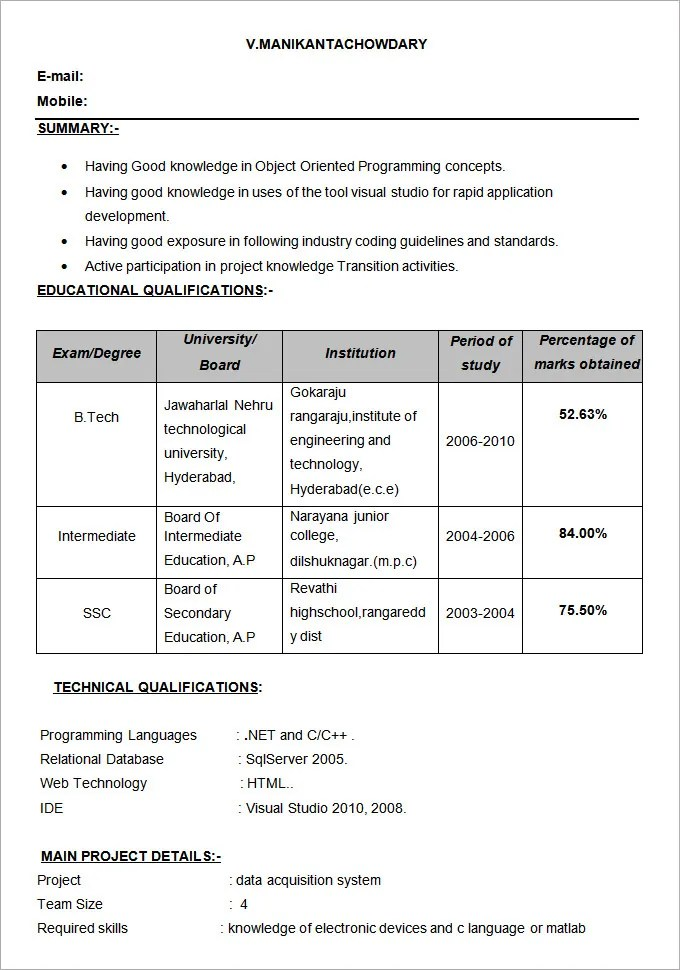 Ece Resume Format A Blog About Resume Samples And Templates Of
