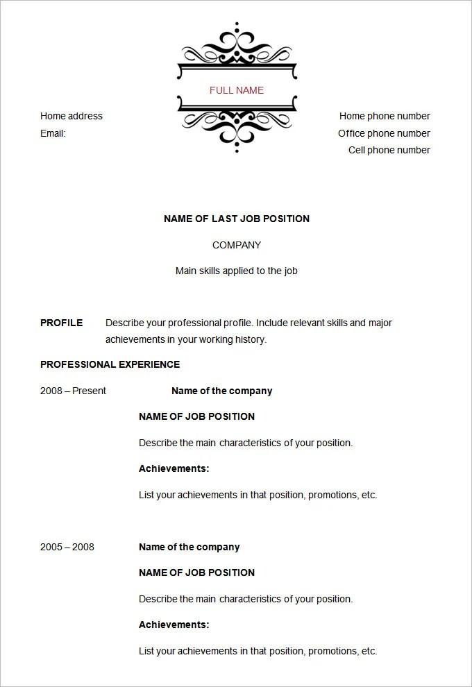 resume chronological order