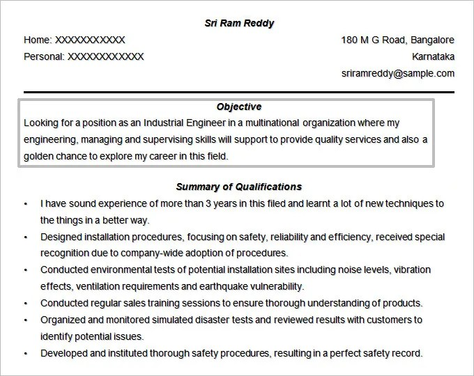 resume objective example engineering - Yelommyphonecompany