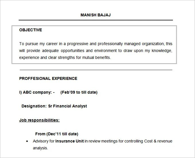 Resume Objectives - 61+ Free Sample, Example, Format Download Free