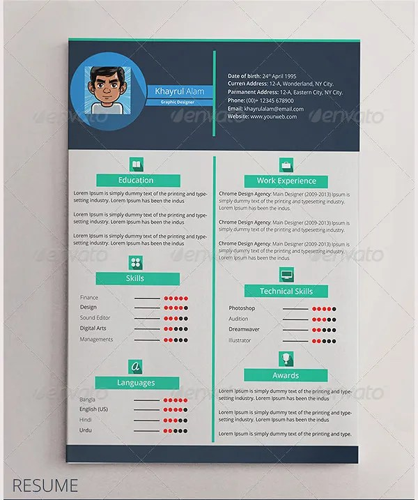 Flat Resume Template \u2013 31+ Free Samples, Examples, Format Download - design for cv
