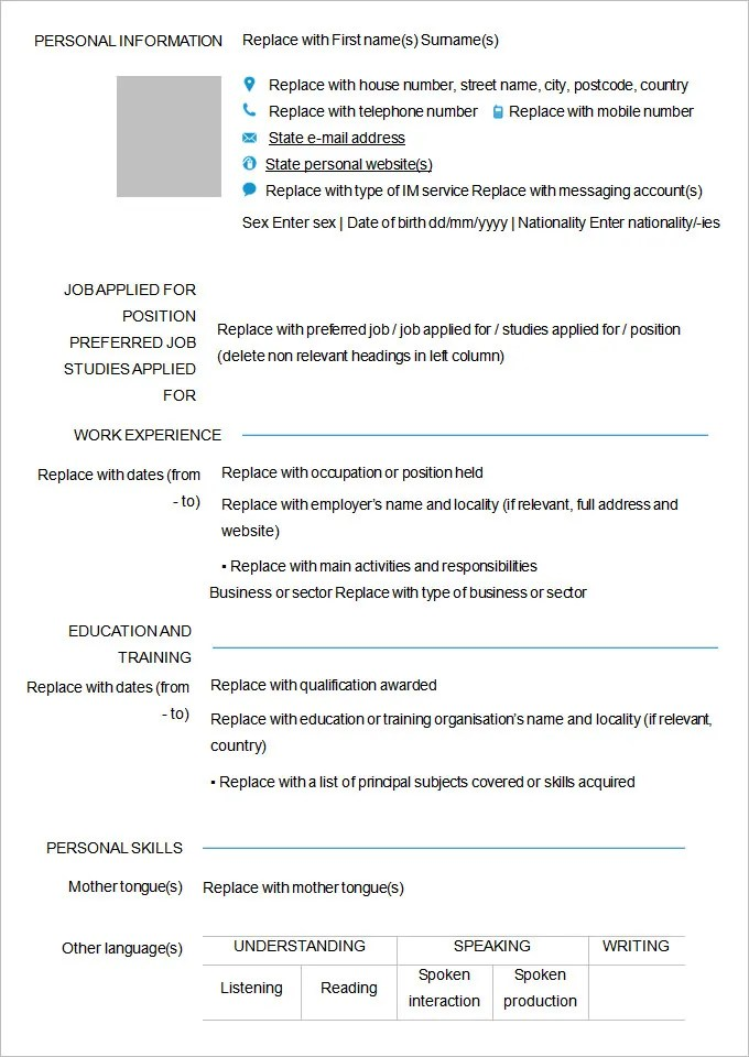 45+ Blank Resume Templates - Free Samples, Examples, Format Download - resume form format