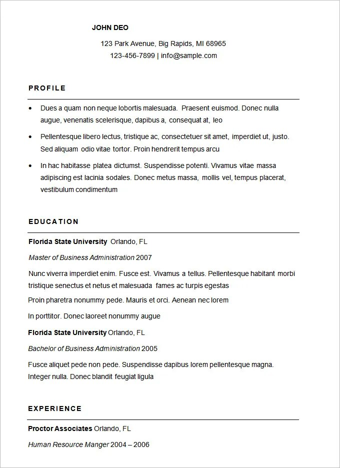 sample of basic resume - Ozilalmanoof