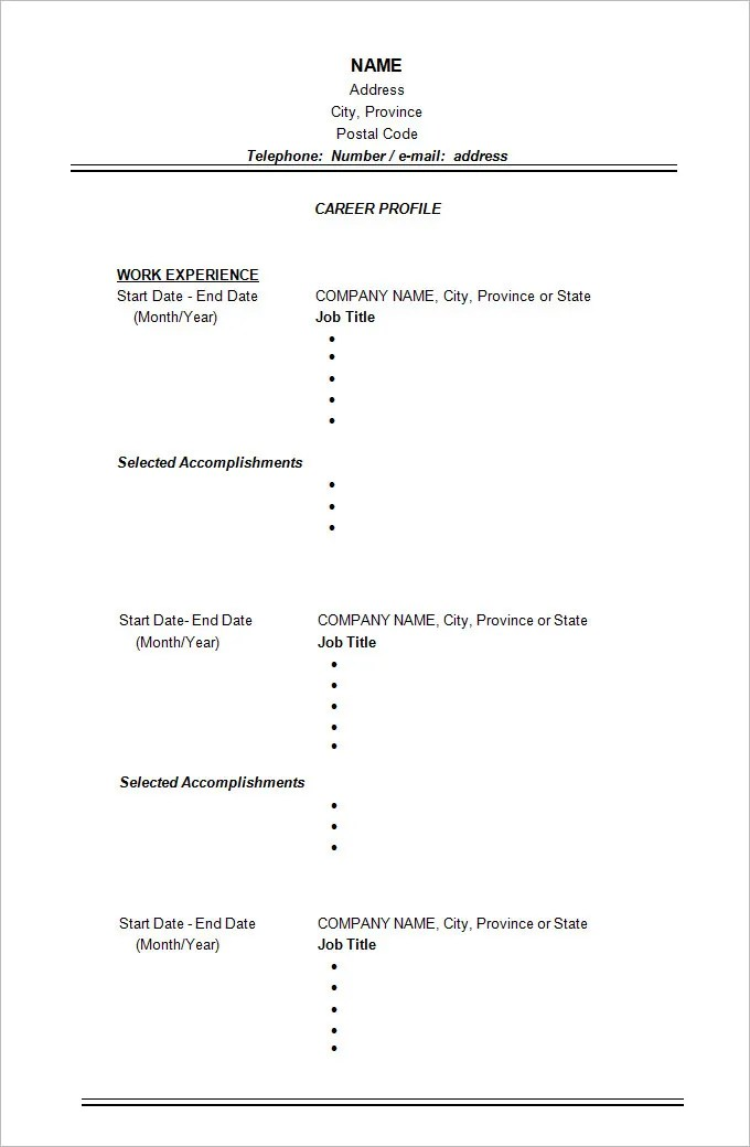 Chronological Resume Template - 23+ Free Samples, Examples, Format - chronological resume templates