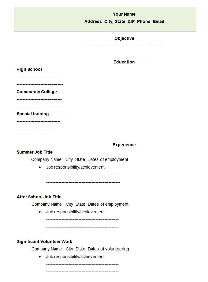 45+ Blank Resume Templates - Free Samples, Examples, Format Download - blank resume form