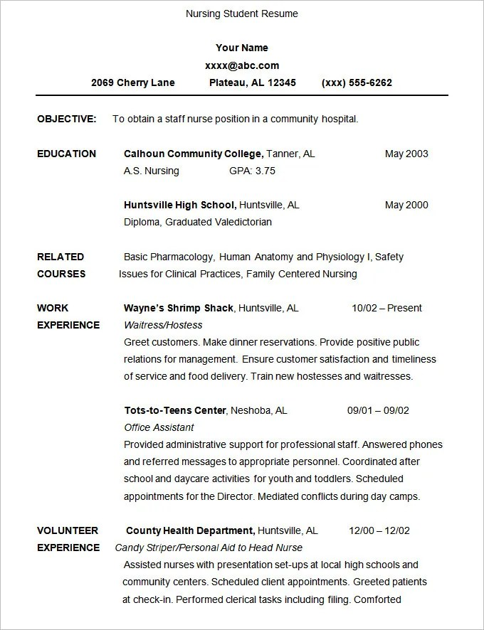 sample of a student resume - Ozilalmanoof