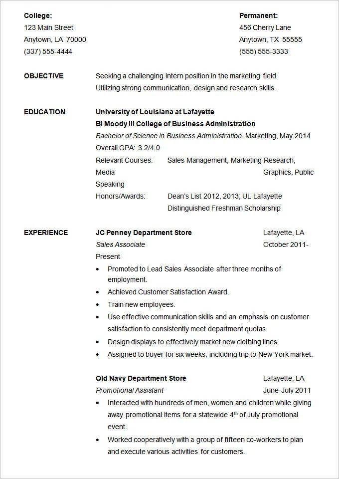 cv format pdf for internship