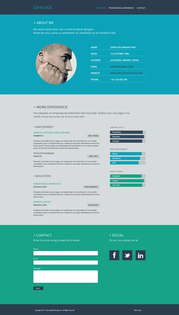 Flat Resume Template \u2013 31+ Free Samples, Examples, Format Download - web design resume