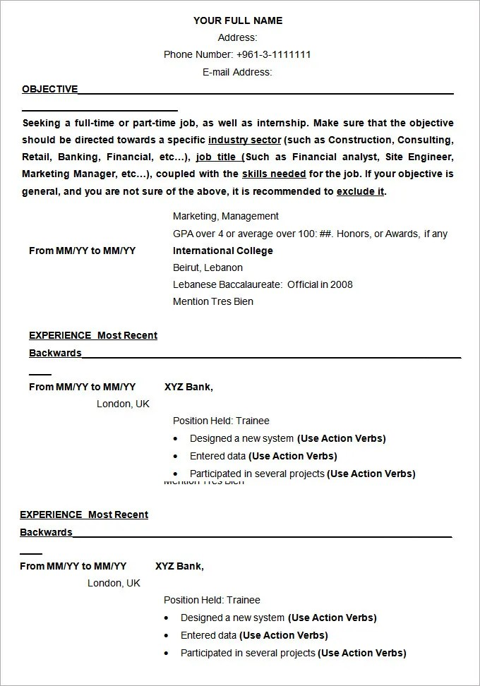 resume sample format download - Onwebioinnovate - resumer samples