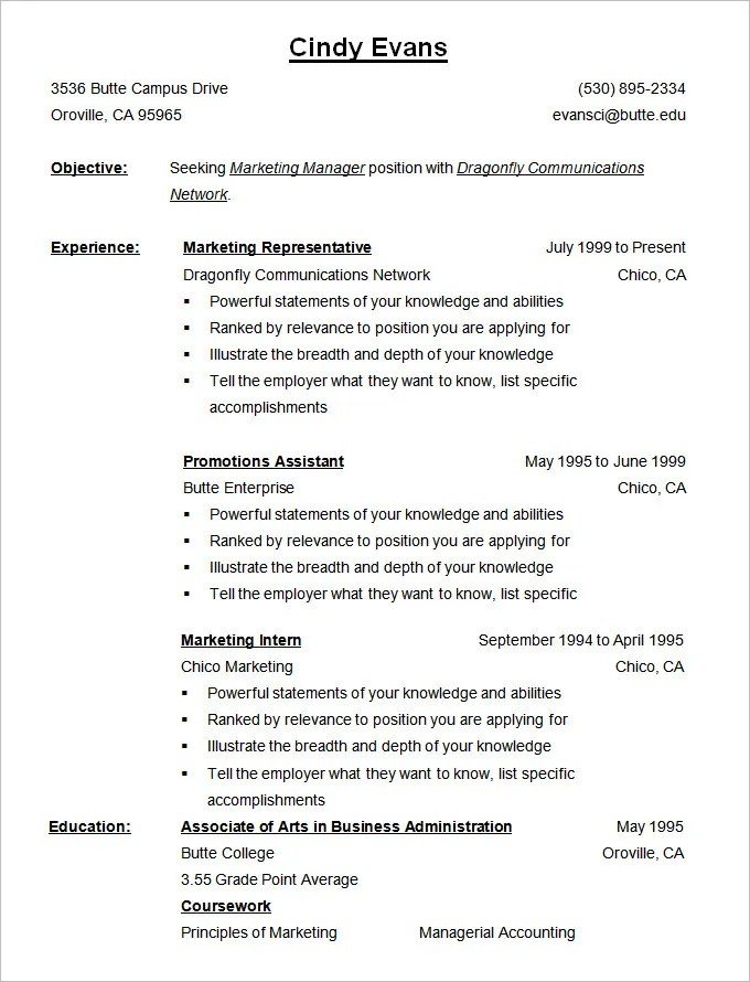 Gallery of Reverse Chronological Resume Template - reverse chronological order resume