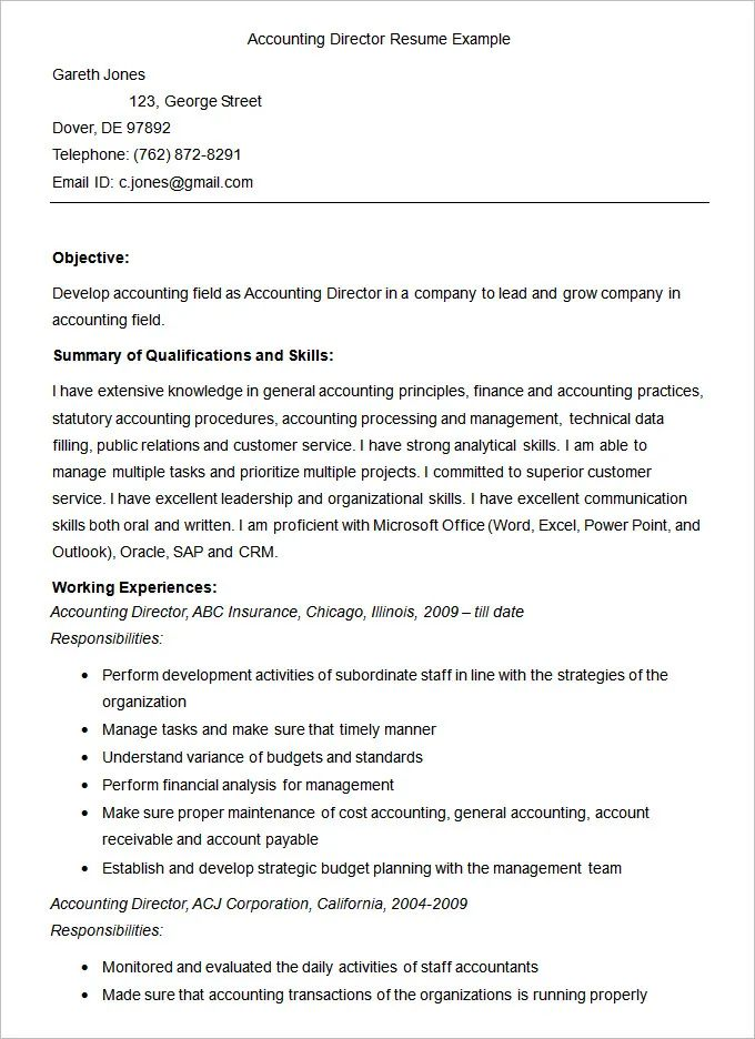 accounting associate resume