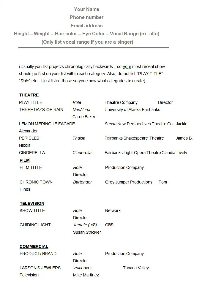acting resume templates free download - Acting Resume Template Free
