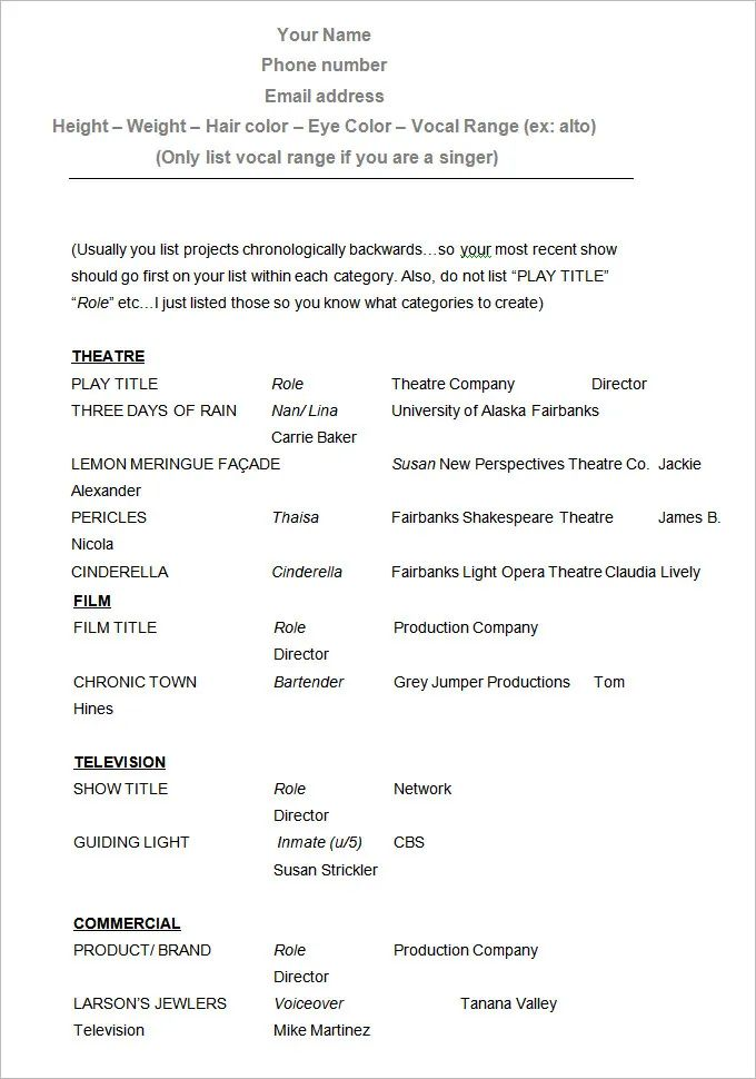 sample of an acting resume