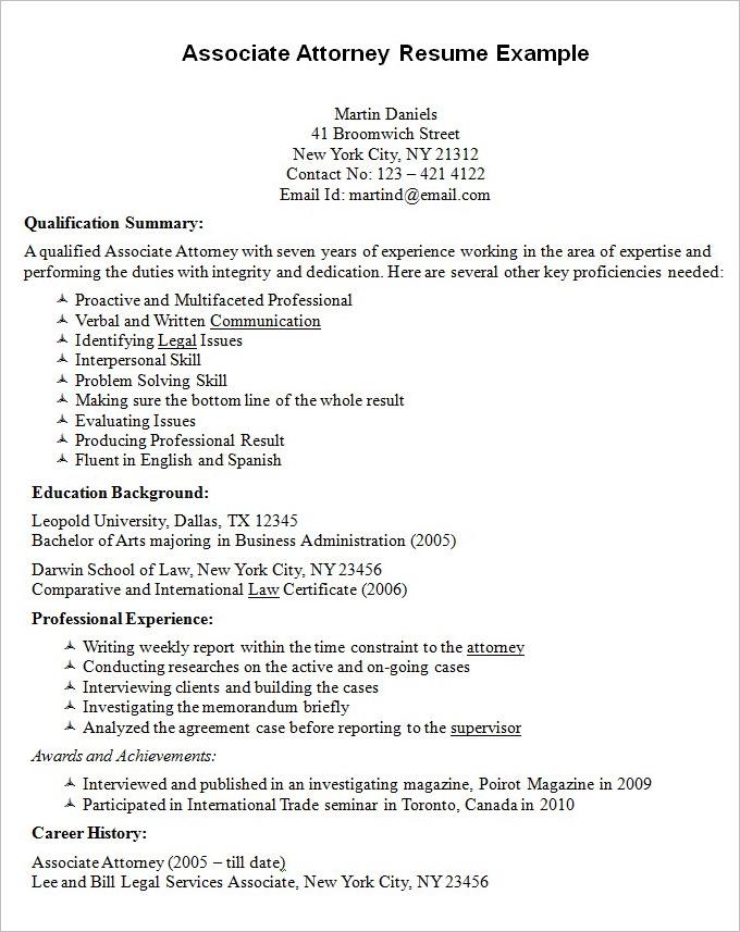 best associate attorney resume example