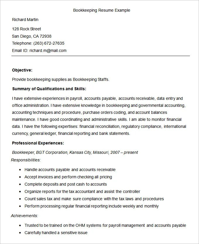 Bookkeeper Resume Best Bookkeeper Resume Example Livecareer And - bookkeeping resume examples