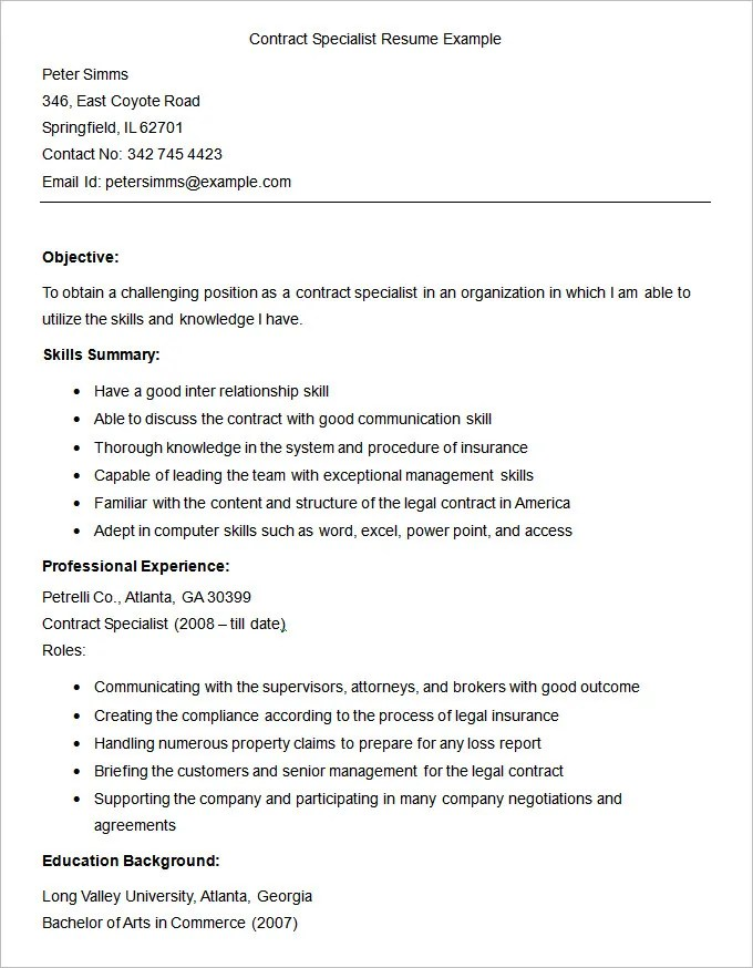Resume Templates \u2013 127+ Free Samples, Examples  Format Download - social insurance specialist sample resume