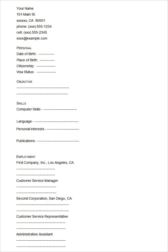 45+ Blank Resume Templates - Free Samples, Examples, Format Download - resume template blank