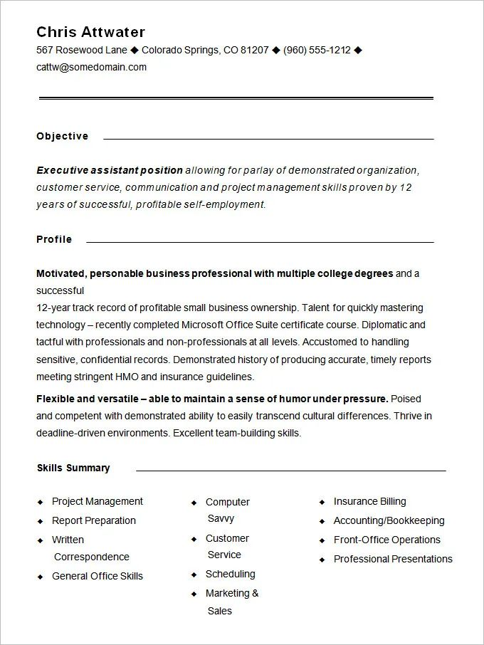 example of functional resumes