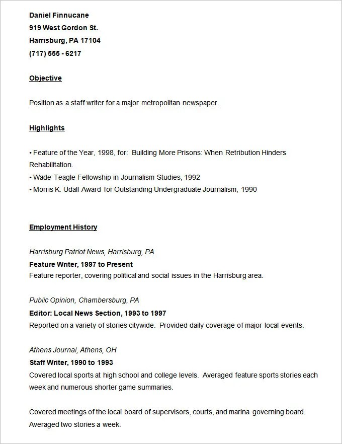 Resume Templates u2013 127+ Free Samples, Examples \ Format Download - sports resume template