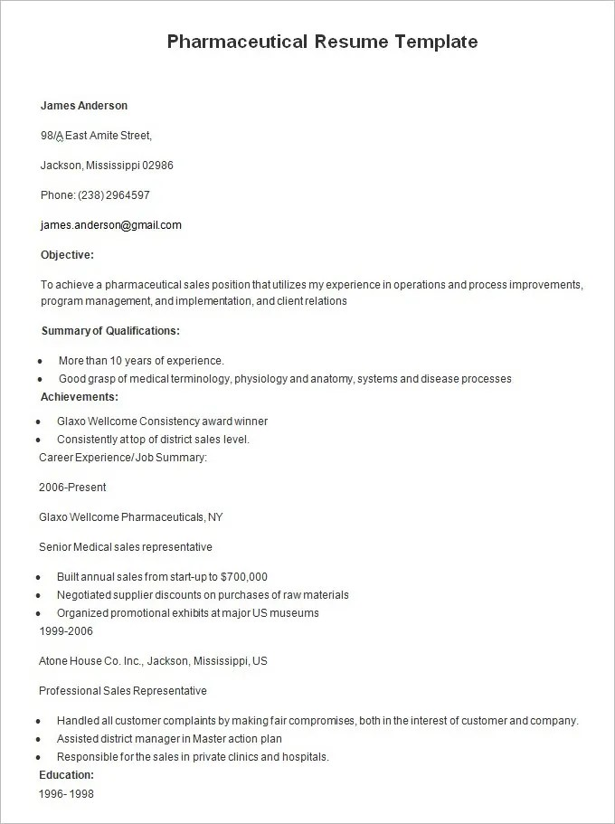 Resume Templates \u2013 127+ Free Samples, Examples  Format Download - pharmaceutical resume template