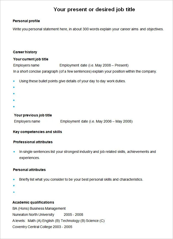 CV Templates u2013 61+ Free Samples, Examples, Format Download Free - personal skills resume